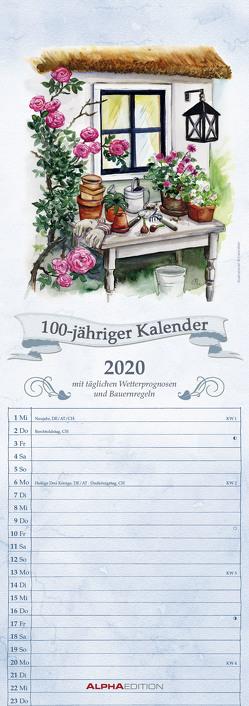 100-jähriger Kalender 2020 – Streifenkalender (15 x 42) – mit Wetterprognosen und Bauernregeln – Streifenplaner – Wandplaner – Küchenkalender von ALPHA EDITION