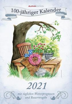 100-jähriger Kalender 2021 – Bild-Kalender 24×34 cm – inkl. Wetterprognosen und Bauernregeln – mit liebevollen Illustrationen – Wandkalender – Alpha Edition