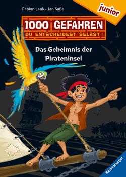 """1000 Gefahren junior – Das Geheimnis der Pirateninsel (Erstlesebuch mit """"Entscheide selbst""""-Prinzip für Kinder ab 7 Jahren) von Lenk,  Fabian, Saße,  Jan"""