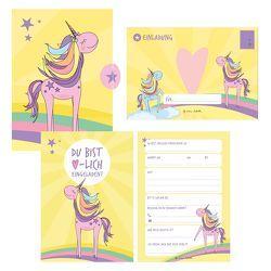 12 Einladungskarten Geburtstag Einhorn (Mädchen). Handgemachte Einladungskarten Kindergeburtstag inkl. 12 liebevollen Hand designten Briefumschlägen. von Wirth,  Lisa