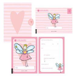 12 Einladungskarten Geburtstag Mädchen (Feen). Handgemachte Einladungskarten Kindergeburtstag incl. 12 liebevollen Hand designten Briefumschlägen. Verpackt in einer wundervollen hochwertigen Karton Box. By Lisa Wirth von Wirth,  Lisa