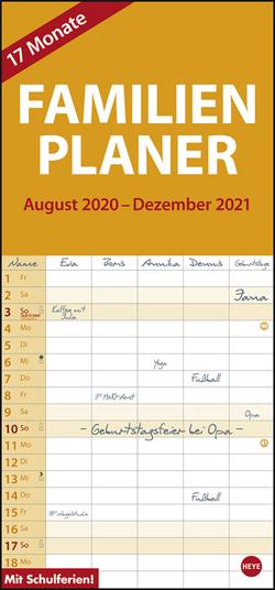 17-Monats-Familienplaner Kalender 2021 von Heye