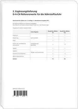 2. Ergänzungslieferung D-A-CH Referenzwerte für die Nährstoffzufuhr, 2. Auflage, 3 aktualisierte Ausgabe 2017