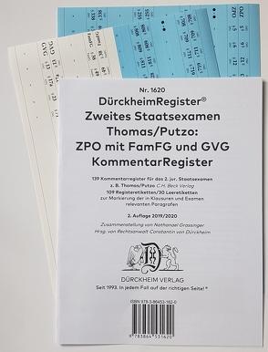 2. Staatsexamen Griffregister Kommentare ZPO Nr. 1620 (2019/2020) von Dürckheim,  Constantin, Grassinger,  Nathanael
