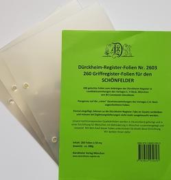 260 transparente Dürckheim-Griffregister-Folien zum Einheften und Unterteilen der Gesetzessammlungen von Dürckheim,  Constantin