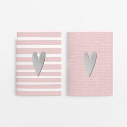 2er Set Notizheft DIN A5 (blanko) in rosa mit 2 verschiedenen Herz-Motiven und jeweils 40 Seiten in weiß mit 120 g Papier. Vorderseite mit hochwertiger Silberfolien-Veredelung. von Wirth,  Lisa