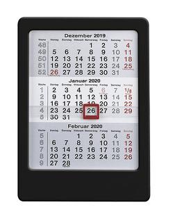 3-Monats-Tischaufsteller 2020 – schwarz – Tischkalender (12 x 16) – Bürokalender – mit Datumsschieber von ALPHA EDITION