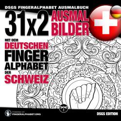 31×2 Ausmalbilder mit dem deutschen Fingeralphabet der Schweiz von Lassal