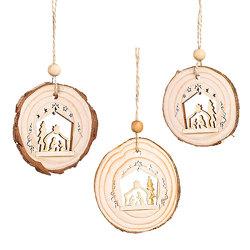3er-Set Holzanhänger »Heilige Familie«