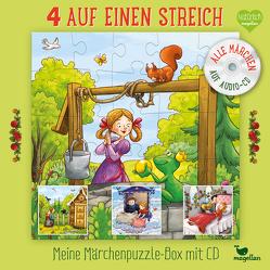 4 auf einen Streich – Meine Märchenpuzzle-Box mit CD von Lauber,  Larisa, Reh,  Rusalka