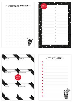 4 Blöcke im Set in schwarz-weiß, inkl. Einkaufsliste, Notizblock, ToDo-Liste und Wochenplaner. von Heisenberg,  Sophie