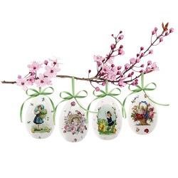 4er-Set Keramik-Ostereier »Frühlingsgrüße«