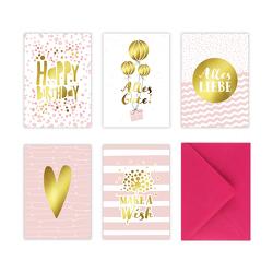 5 Geburtstagskarten im Set inkl. Umschläge in pink. Rosa Glückwunschkarten zum in DIN A6 mit edler Folienprägung in Gold. Klappkarten zum Geburtstag, Hochzeit, Geburt, Firmung, Konfirmation von Wirth,  Lisa