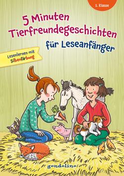5 Minuten Tierfreundegeschichten für Leseanfänger, 1. Klasse – Lesenlernen mit Silbenfärbung