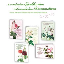 5er-Set Grußkarten »Zeit für Rosen« von Redouté,  Pierre-Joseph