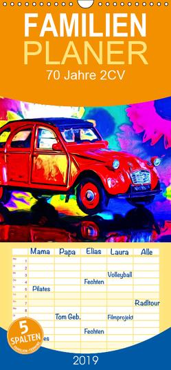 70 Jahre 2CV – Familienplaner hoch (Wandkalender 2019 , 21 cm x 45 cm, hoch) von Glineur alias DeVerviers,  Jean-Louis