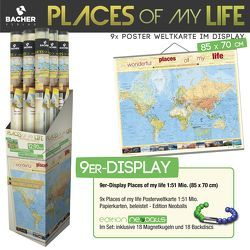 "9er-Display Welt ""Places of my life"", Edition Neoballs, 1:51 Mio., beleistet"