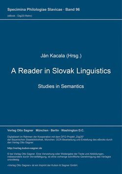 A Reader in Slovak Linguistics von Kacala,  Ján