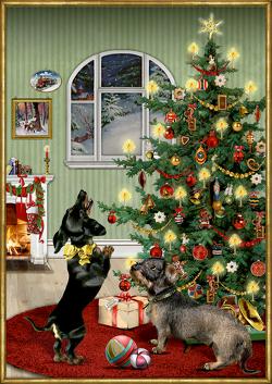 A3-Wandkalender – Dackel im Weihnachtszimmer von Behr,  Barbara
