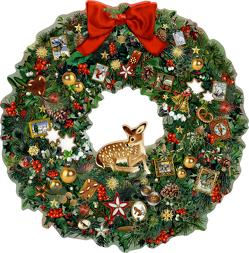 A3 Wandkalender – Kleiner Weihnachtskranz mit Reh von Behr,  Barbara