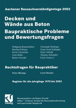 Aachener Bausachverständigentage 2002 von Oswald,  Rainer