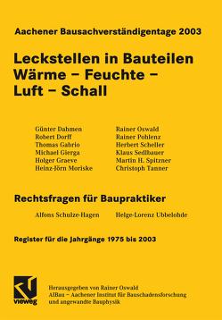 Aachener Bausachverständigentage 2003 von Oswald,  Rainer