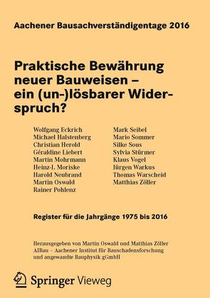 Aachener Bausachverständigentage 2016 von Oswald,  Martin, Zöller,  Matthias