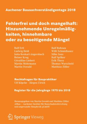 Aachener Bausachverständigentage 2018 von Oswald,  Martin, Zöller,  Matthias