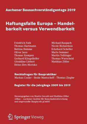 Aachener Bausachverständigentage 2019 von Oswald,  Martin, Zöller,  Matthias