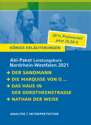 Abitur-Paket Nordrhein-Westfalen 2021. Deutsch Leistungskurs – Königs Erläuterungen von Hoffmann,  E T A, Kleist,  Heinrich von, Lange,  Hartmut, Lessing,  Gotthold Ephraim