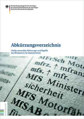 Abkürzungsverzeichnis von Blum,  Ralf, Eiselt,  Rainer, Joestel,  Frank, Richter,  Klaus, Wolf,  Stephan, Zeidler,  Hans-Jürgen