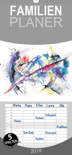 Abstrakte Aquarelle – Familienplaner hoch (Wandkalender 2019 , 21 cm x 45 cm, hoch) von Krause,  Jitka