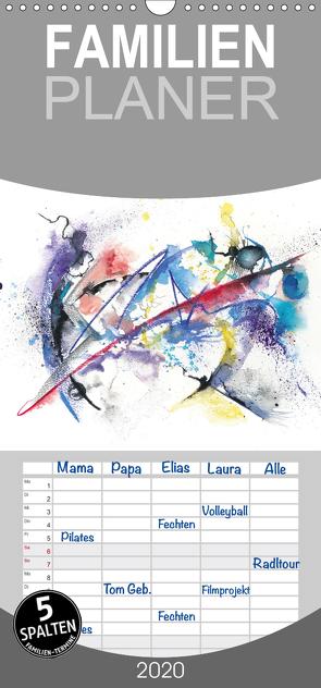 Abstrakte Aquarelle – Familienplaner hoch (Wandkalender 2020 , 21 cm x 45 cm, hoch) von Krause,  Jitka
