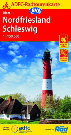 ADFC-Radtourenkarte 1 Nordfriesland /Schleswig 1:150.000, reiß- und wetterfest, GPS-Tracks Download