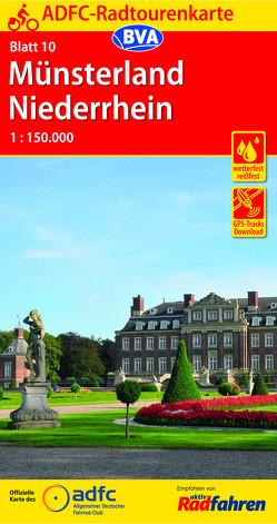 ADFC-Radtourenkarte 10 Münsterland Niederrhein 1:150.000, reiß- und wetterfest, GPS-Tracks Download