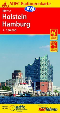 ADFC-Radtourenkarte 2 Holstein Hamburg 1:150.000, reiß- und wetterfest, GPS-Tracks Download