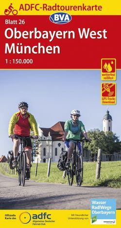 ADFC-Radtourenkarte 26 München/Oberbayern West 1:150.000, reiß- und wetterfest, GPS-Tracks Download
