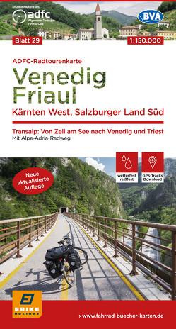ADFC-Radtourenkarte 29 Venedig, Friaul – Kärnten West, Salzburger Land Süd, 150.000, reiß- und wetterfest, GPS-Tracks Download