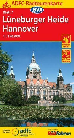 ADFC-Radtourenkarte 7 Lüneburger Heide /Hannover 1:150.000, reiß- und wetterfest, GPS-Tracks Download und Online-Begleitheft