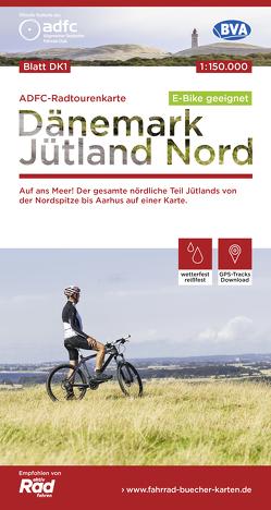 ADFC-Radtourenkarte DK1 Dänemark/Jütland Nord, 1:150.000, reiß- und wetterfest, GPS-Tracks Download, E-Bike geeignet