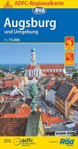 ADFC-Regionalkarte Augsburg und Umgebung mit Tagestouren-Vorschlägen, 1:75.000, reiß- und wetterfest, GPS-Tracks Download