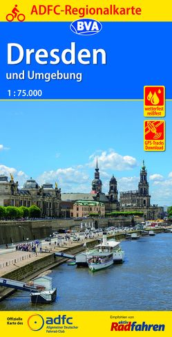 ADFC-Regionalkarte Dresden und Umgebung mit Tagestouren-Vorschlägen, 1:75.000, reiß- und wetterfest, GPS-Tracks Download