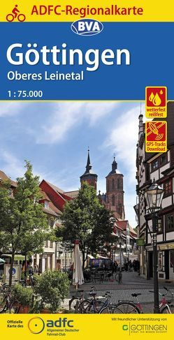 ADFC-Regionalkarte Göttingen Oberes Leinetal, 1:75.000, reiß- und wetterfest, GPS-Tracks Download