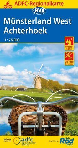 ADFC-Regionalkarte Münsterland West / Flusslandschaft Achterhoek, 1:75.000, reiß- und wetterfest, GPS-Tracks Download