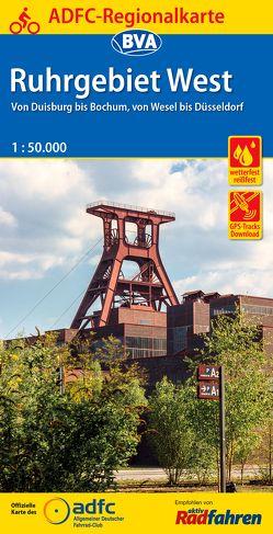 ADFC-Regionalkarte Ruhrgebiet West mit Tagestouren-Vorschlägen, 1:50.000, reiß- und wetterfest, GPS-Tracks Download
