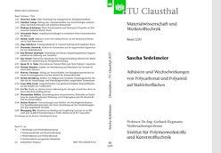 Adhäsion und Wechselwirkungen von Polycarbonat und Polyamid auf Stahloberflächen von Sedelmeier,  Sascha