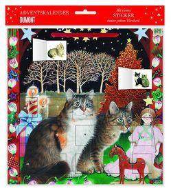 Adventskalender Ivory Cats 2– mit 24 Stickern – mit Glitzer – mit rotem Stoffband – Format 30 x 30 cm von DUMONT Kalenderverlag, Ivory,  Lesley Anne