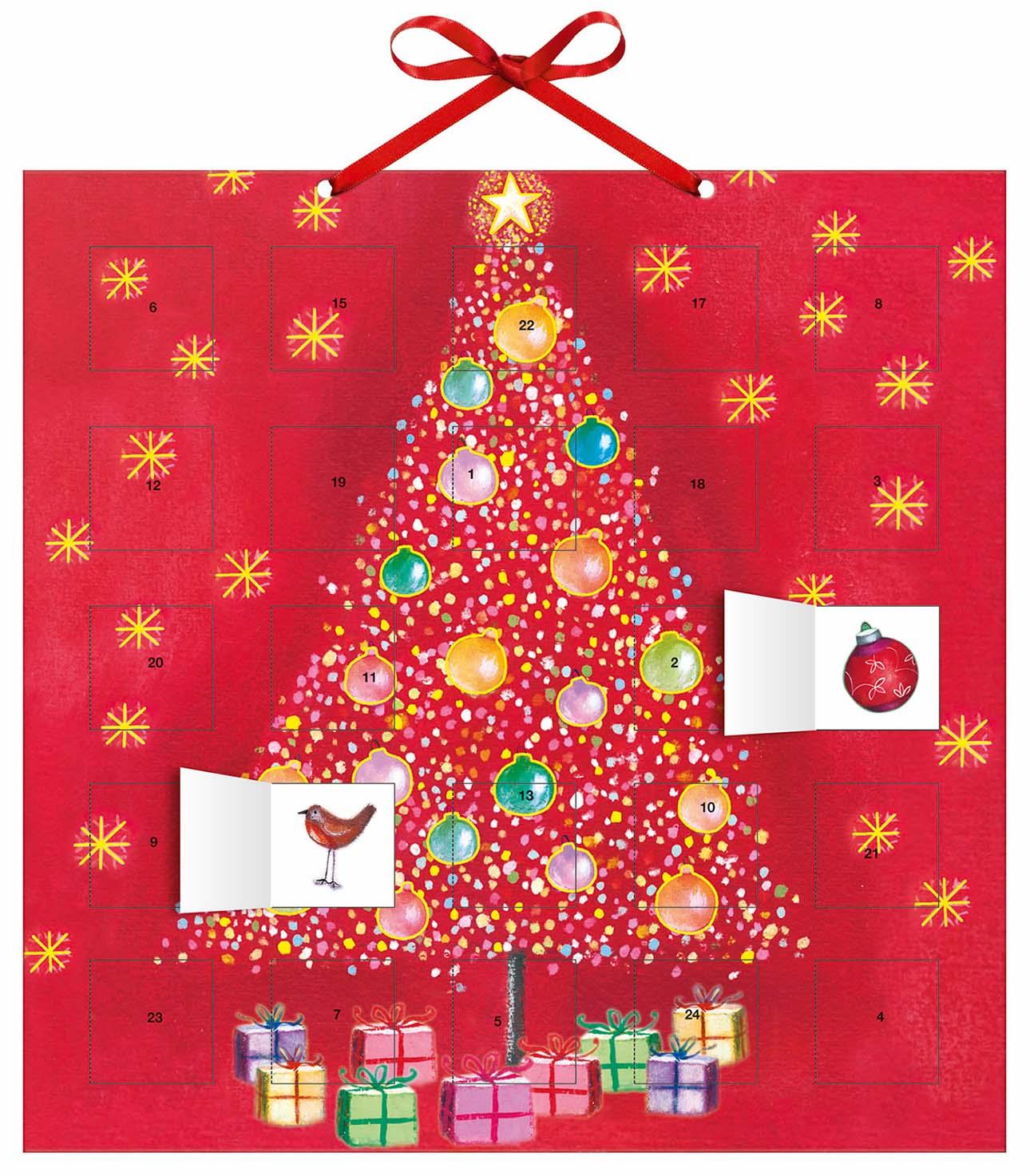 adventskalender oh weihnachtsbaum mit 24 stickern mit. Black Bedroom Furniture Sets. Home Design Ideas