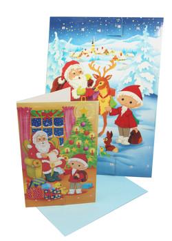 """Adventskalender-Set """"Unser Sandmännchen"""" A4-Kalender und Postkarte als Adventskalender mit Umschlag"""