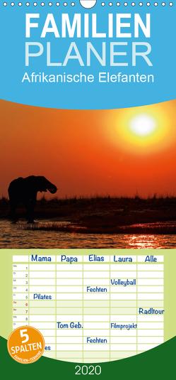 Afrikanische Elefanten – Familienplaner hoch (Wandkalender 2020 , 21 cm x 45 cm, hoch) von Wolf,  Gerald